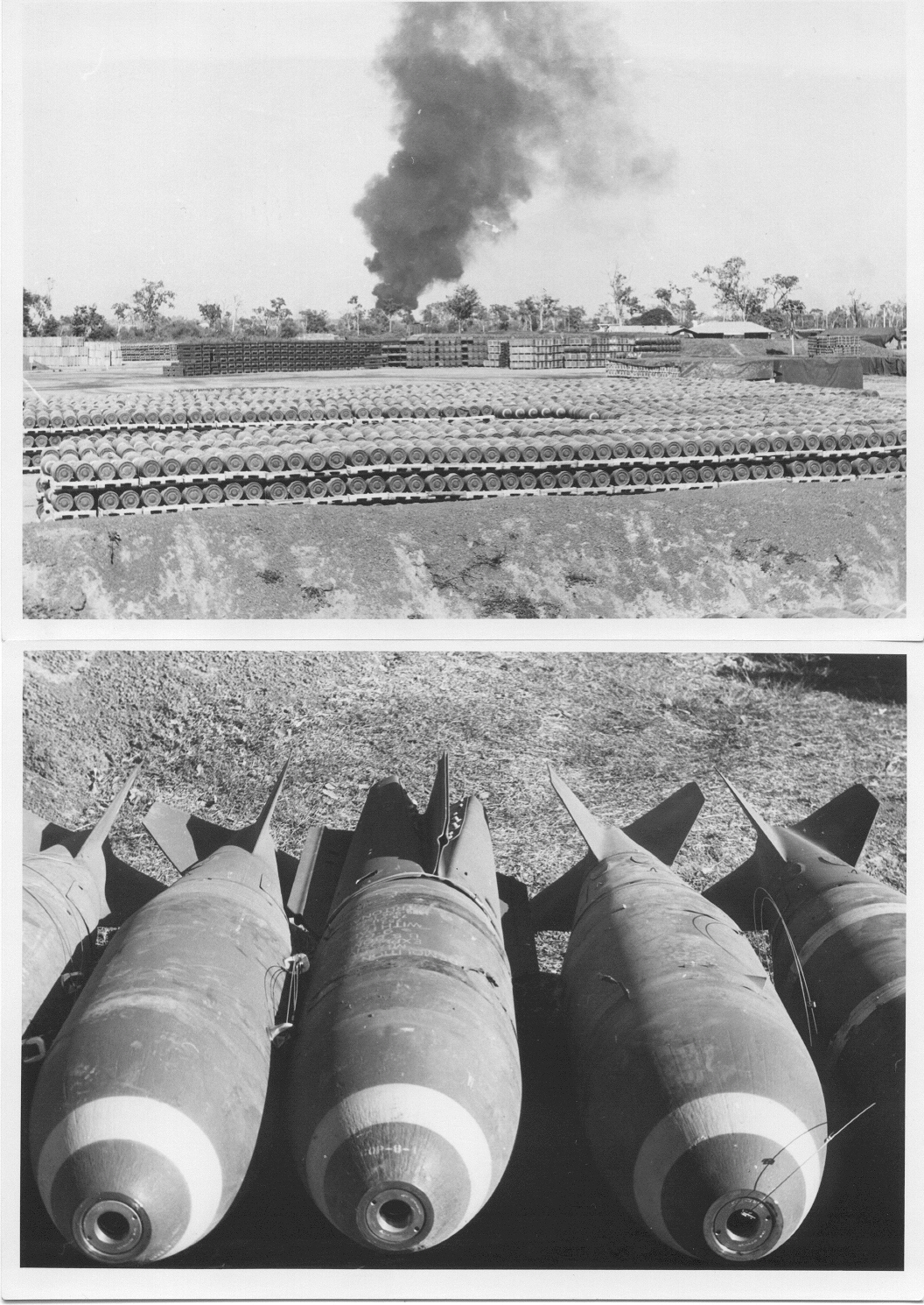 This TOP PHOTO shows many stacked tons of 750 pounder General Purpose fragmentation bombs ...........   This BOTTOM PHOTO shows  close-up of 750 pounders AFTER tail fin housings have been assembled onto the bomb body. TWO types of Tail Fins are shown.